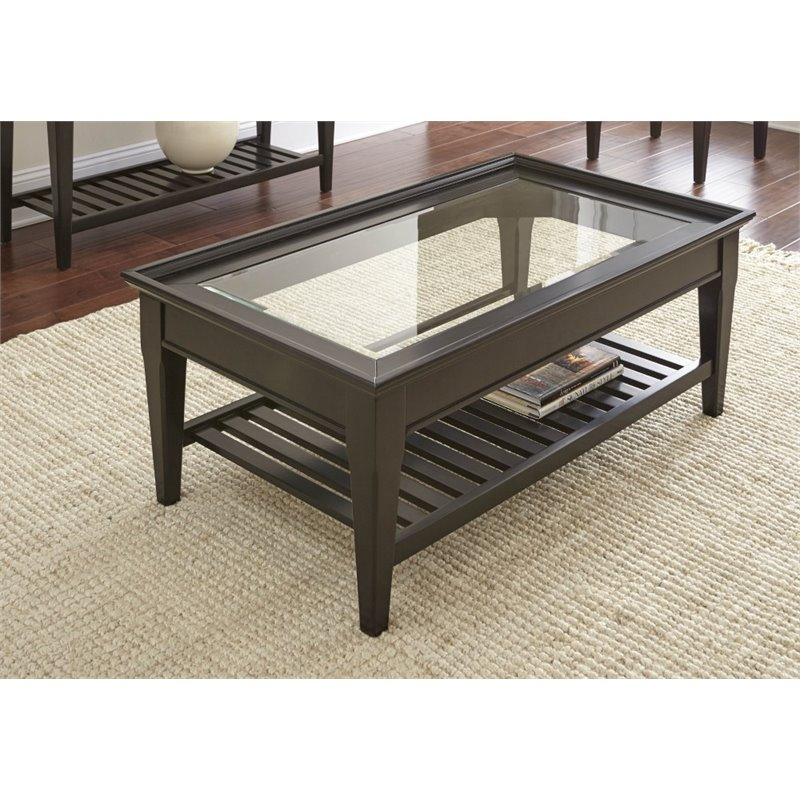 Steve Silver Bridget Glass Top Coffee Table In Ebony Bg300c