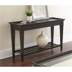 Steve Silver Bridget Glass Top Console Table in Ebony