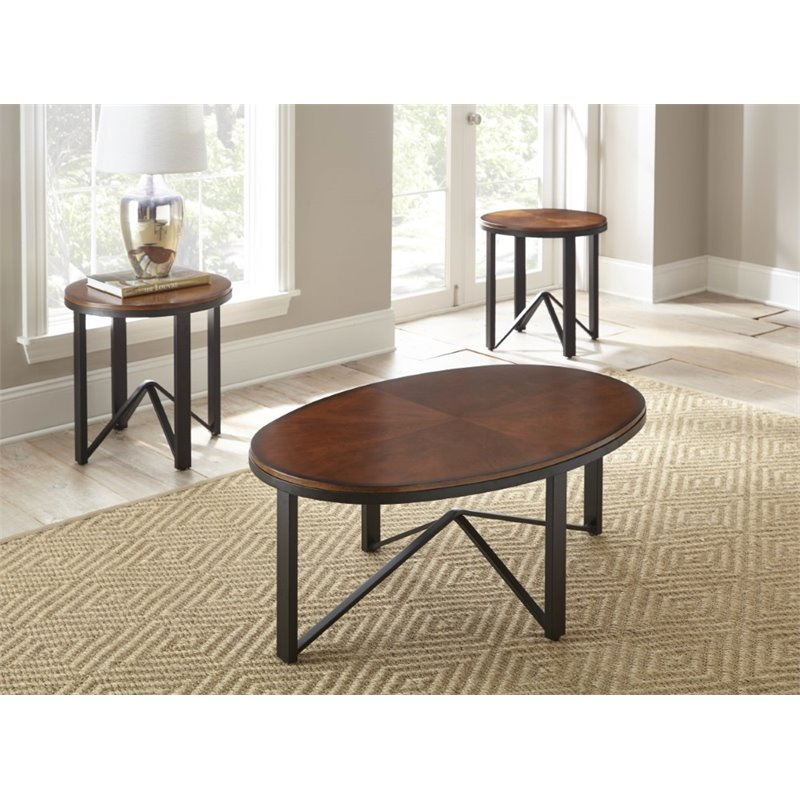 Steve Silver Chloe 3 Piece Coffee Table Set In Brown Cherry Ch3000