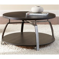 Steve Silver Coham Round Coffee Table in Black Nickel