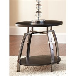 Steve Silver Coham Round End Table in Black Nickel