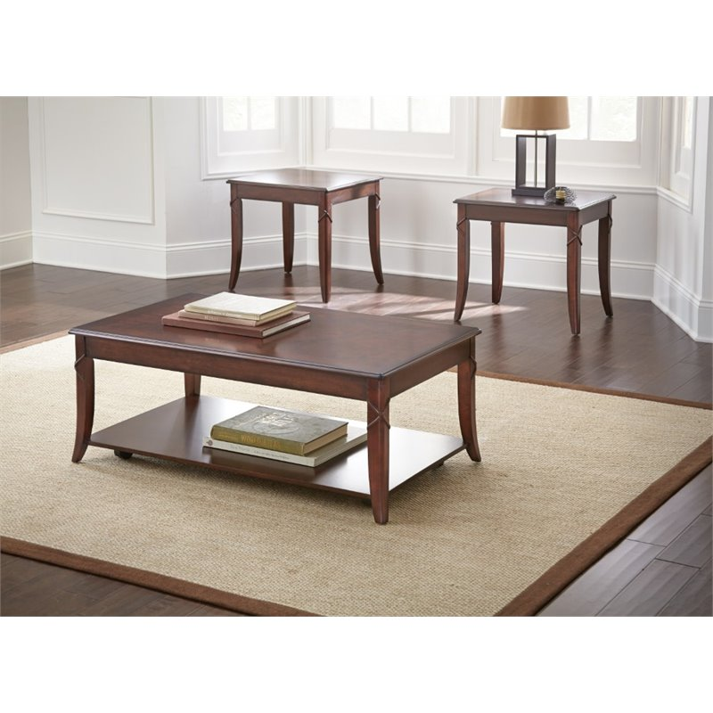 steve silver draco 3 piece coffee table set in brown cherry dr3000. Black Bedroom Furniture Sets. Home Design Ideas