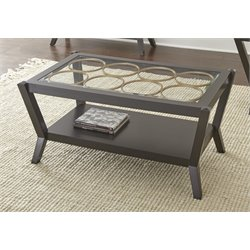 Steve Silver Doreen Glass Top Coffee Table in Ebony