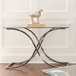 Steve Silver Leonardo Glass Top Console Table in Chrome