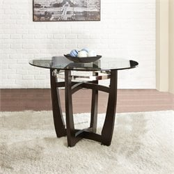 Steve Silver Matinee Round Glass Top Dining Table in Ebony