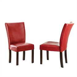 Steve Silver Matinee Bonded Leather Dining Chair in Red