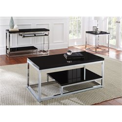 Steve Silver Madelyn Coffee Table in Chrome and Black