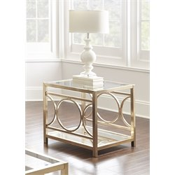 Steve Silver Olympia Square Glass Top End Table in Gold Chrome