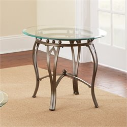 Steve Silver Madrid Round Glass Top End Table in Weathered Pewter