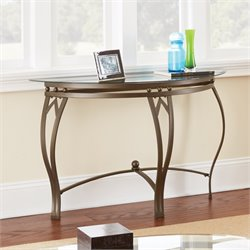 Steve Silver Madrid Glass Top Console Table in Weather Pewter