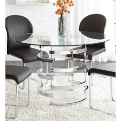 Steve Silver Tayside Round Glass Top Dining Table in Black
