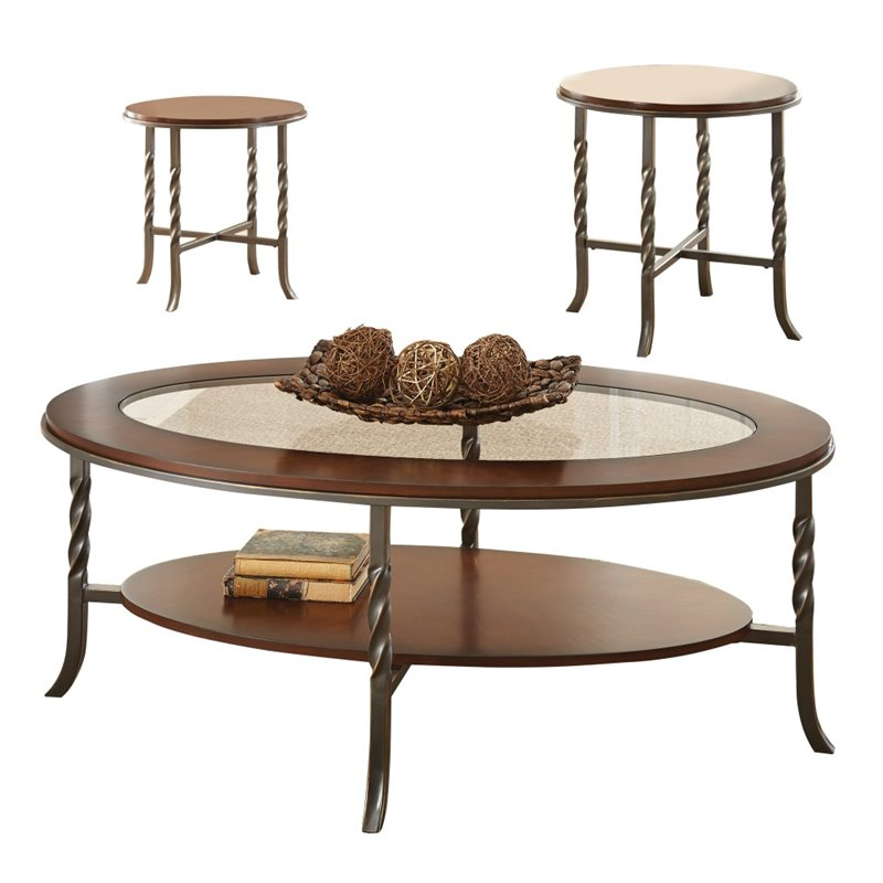 steve silver vance 3 piece coffee table set in brown cherry vn3000. Black Bedroom Furniture Sets. Home Design Ideas