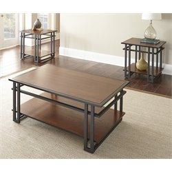 Steve Silver Micah 3 Piece Coffee Table Set in Dark Oak