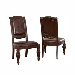 Steve Silver Company Antoinette Leather Dining Chair in Cherry