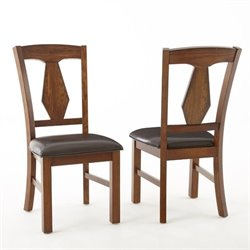 Steve Silver Company Lake Vinyl Dining Chair in Rich Oak
