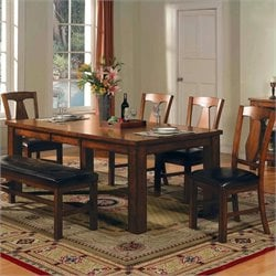 Steve Silver Company Lakewood 5 Piece Dining Table Set in Rich Oak