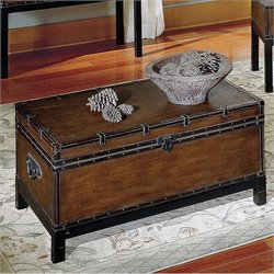 Steve Silver Company Voyage Trunk Coffee Table in Antique Cherry Brown