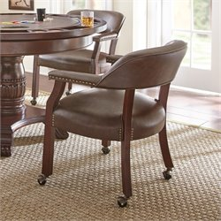 Steve Silver Tournament Captains Chair with Casters in Brown