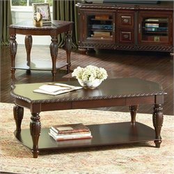 Steve Silver Company Antoinette Rectangular Wood Coffee Table in Cherry Wood