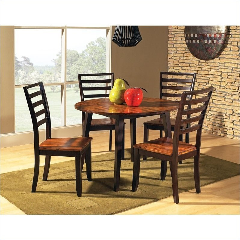 Steve Silver Company Abaco Double Drop Leaf Round Casual Dining Table in Acacia Finish