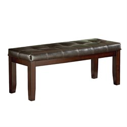 Steve Silver Sao Paulo Faux Leather Bench in Merlot Cherry