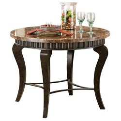 Steve Silver Company Hamlyn Marble Top Dining Table in Pewter Finish