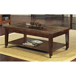 Steve Silver Company Davenport Slate Cocktail Table with Locking Casters