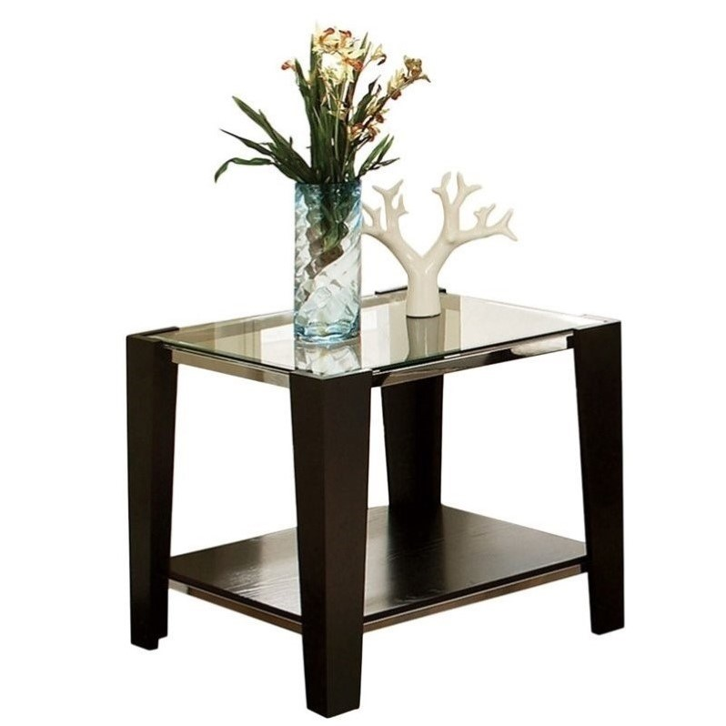 Steve Silver Company Newman Glass Top End Table