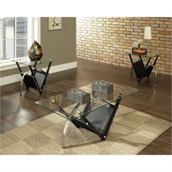 Steve Silver Company Tribecca 3 Piece Coffee Table Set in Black