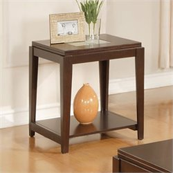 Steve Silver Company Ice End Table with Cracked Glass Insert in Cherry