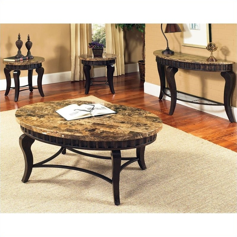Steve Silver Company Hamlyn Marble Top End Table in Natural Marble