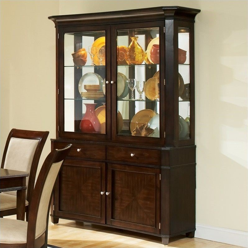 Steve Silver Company Marseille Buffet and Hutch in Merlot Cherry