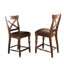 Steve Silver Wyndham Counter Height Dining Chair in Tobacco