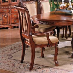Steve Silver Company Harmony HarpbackArm Dining Chair in Rich Cherry