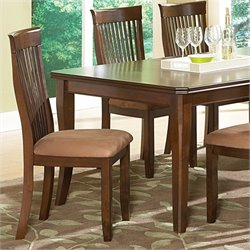 Steve Silver Company Montreal Brown Microfiber Upholstery Dining Chair in Dark Oak