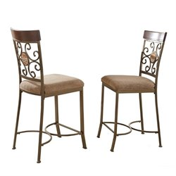 Steve Silver Thompson Counter Height Dining Chair in Metal and Cherry