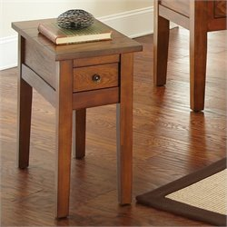 Steve Silver Company Desoto Chairside End Table in Dark Oak Finish