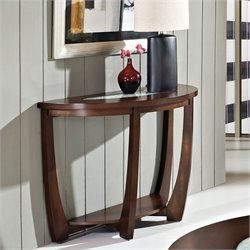 Steve Silver Company Rafael Sofa Table in Cherry with Cracked Glass Insert