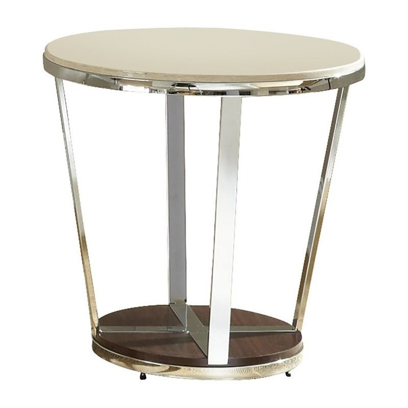 Steve Silver Company Bosco Faux Marble Round End Table in Espresso