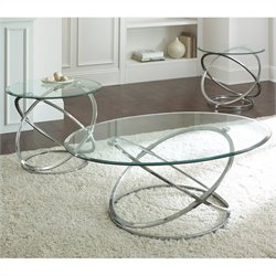 Steve Silver Company Orion 3 Pack Chrome Cocktail and End Tables Set