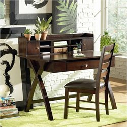Steve Silver Company Sao Paulo Desk with Hutch in Rich Multi-Step Espresso