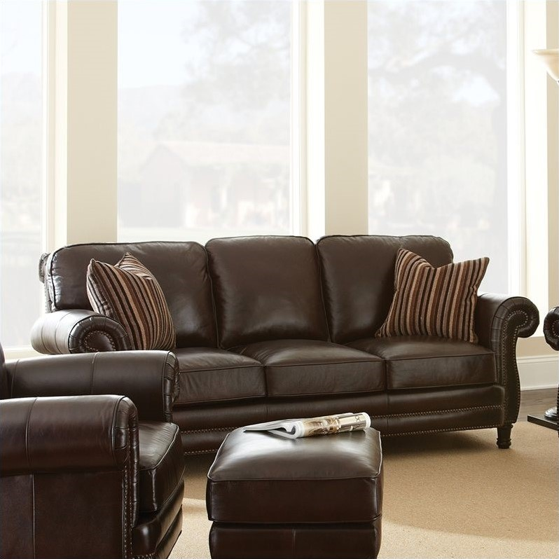 Steve Silver Company Chateau Leather Sofa In Antique