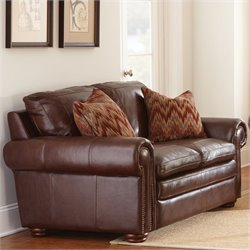 Steve Silver Company Yosemite Leather Loveseat in Chestnut