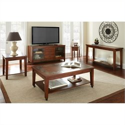 Steve Silver Company Davenport Slate 3 Piece Coffee Table Set in Mutli-Step Dark Cherry
