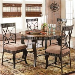 Steve Silver Company Hamlyn 5 Piece Marble Top Dining Table Set in Pewter