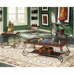 Steve Silver Company Ellery 3 Piece Coffee Table Set in Cherry