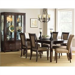 Steve Silver Company Wilson Dining Table Set in Merlot Cherry