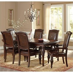 Steve Silver Company Antoinette 5 Piece Leg Dining Table Set in Cherry