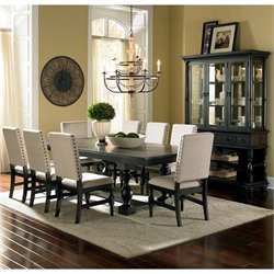 Steve Silver Company Leona 9 Piece Dining Table Set in Dark Hand Rubbed