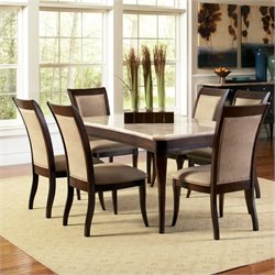 Steve Silver Marseille Marble Top Dining Set in Dark Cherry